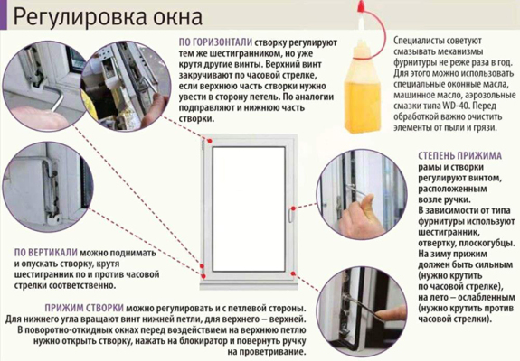 Регулировка створки окна своими руками