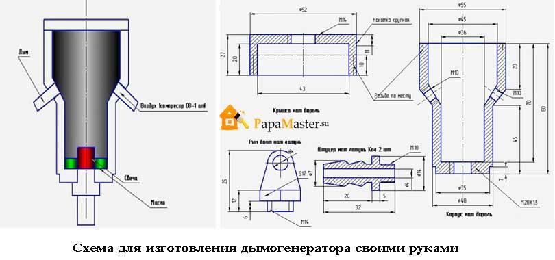 Как сделать дымогенератор чертеж 907